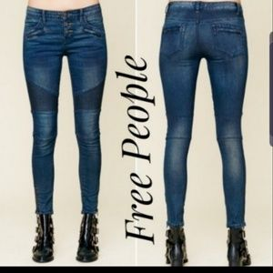 Free People Moto Ankle Skinny Jeans